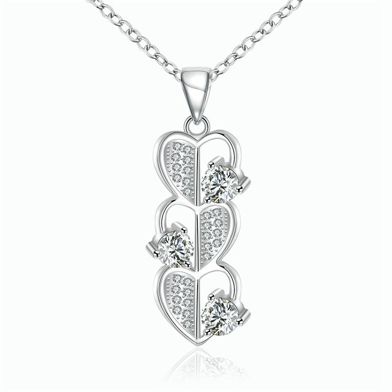 Hot Sale Romantic Heart By Heart Design Pendant Necklace Silver Plated CZ Diamond Fashion Jewelry For Women Vintage QA0118(China (Mainland))
