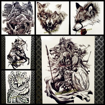 Hero of Sparta Waterproof Temporary Tattoo Men Women Fake Body ART 21x15CM Troy Ancient Warrior Tattoo Sticker Knight Tatoos