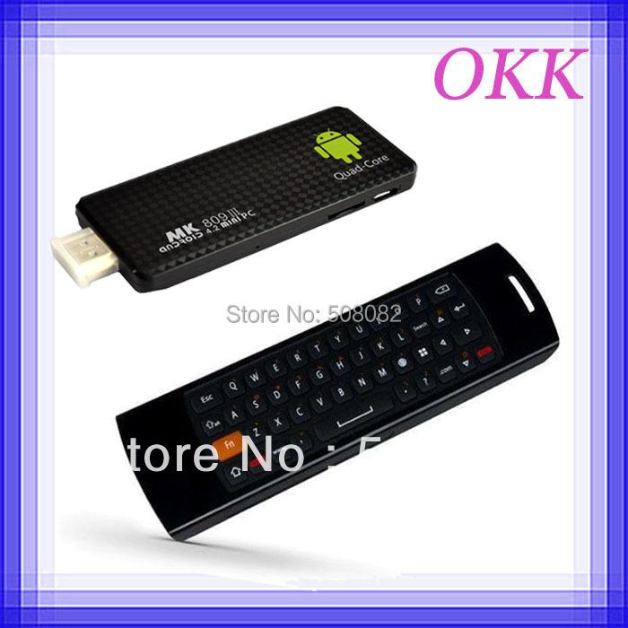 Andorid 4.4.2 Quad core smart TV BOX mini pc MK809III RK3188t Cortex-A9 2GB RAM 8GB + Mele F10 Deluxe Fly air mouse keyboard(China (Mainland))