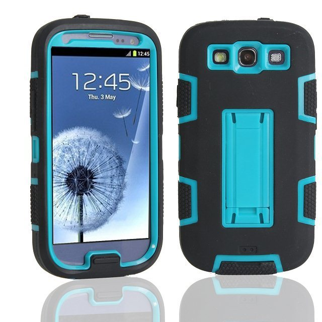 product For Samsung Galaxy S3 SIII i9300 Defendered Hybrid Rubber Rugged Combo Matte Case Hard Cover w/Protect With Stand