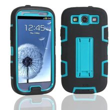 For Samsung Galaxy S3 SIII i9300 Defendered Hybrid Rubber Rugged Combo Matte Case Hard Cover w/Protect With Stand(China (Mainland))