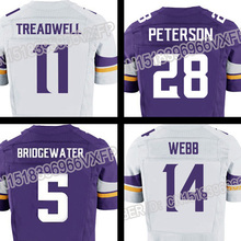 men's #28 Peterson #5 Bridgewater #11 Treadwell #14 Webb Team Color Game Elite 100% Stitched(China (Mainland))