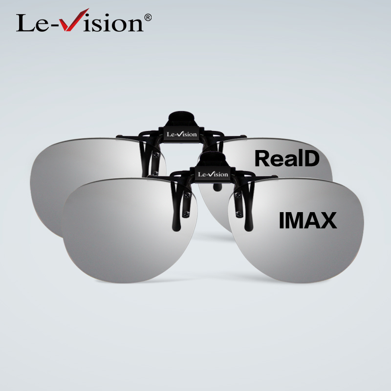 2016 Free shipping 2PCS Le-Vision polarized 3D glasses clip passive for myope for RealD cinema 3D system home theater projector(China (Mainland))