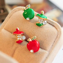 2 Colors Fruit Fashion Green Red Apple Rhinestone Asymmetric Stud Earrings for Women Jewelry(China (Mainland))