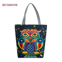 Buy Miyahouse Women Canvas Beach Bag Cartoon Owl Printed Casual Tote Daily Use Single Shoulder Shopping Bags Female Canvas Handbag for $6.98 in AliExpress store
