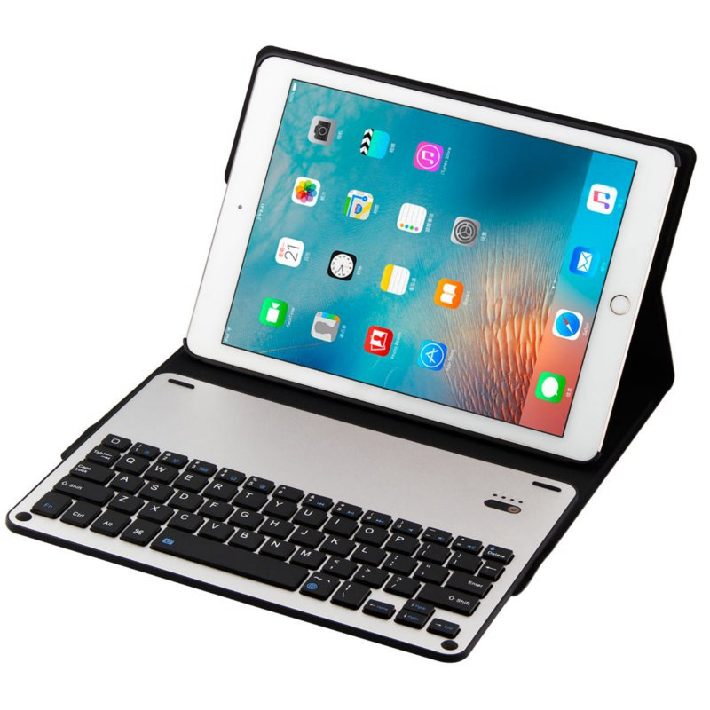 Detachable Aluminium Alloy Bluetooh Keyboard PU Leather Case Cove New For iPad Air 1 2 For iPad Pro 9.7 Keyboard Case Cover(China (Mainland))
