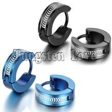 1 Pair Punk New 316L Stainless Steel Mens Hinged Hoop Male Earrings pendientes de aro Blue / Black Selectable(China (Mainland))