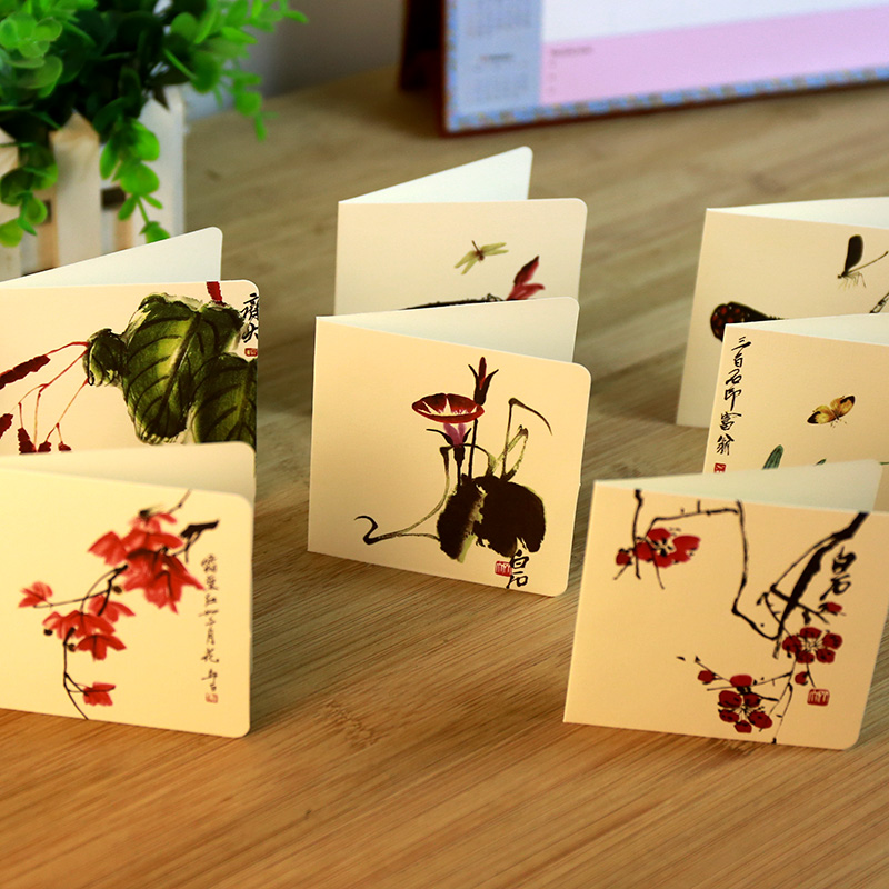 12 pcs/set Creative China Painting style card Birthday/holiday greeting message card Christmas New Year Gift cards(China (Mainland))