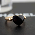 Starry Black Heart Shaped Crystal Square Section Gold Plated Rings for Women Fashion Finger Jewelry