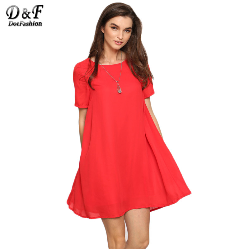 Dotfashion Red Short Sleeve Backless Shift Mini Dress Female Round Neck Hollow Out Plain Straight Short Dress(China (Mainland))
