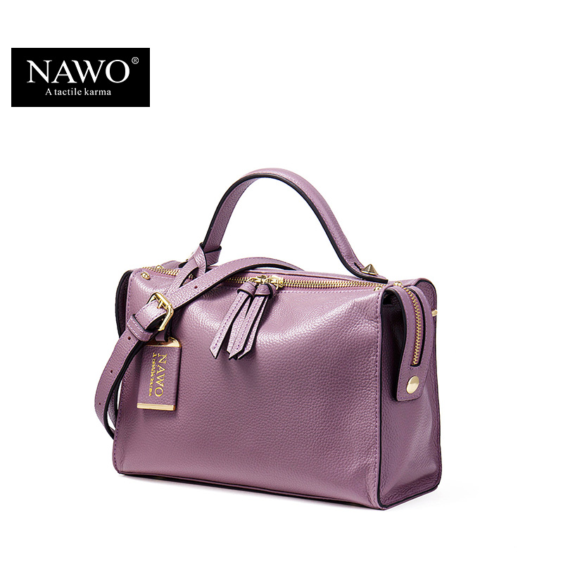 NAWO Zipper Women Genuine Leather Bag Women's Messenger Bags Tote Handbags Women Famous Brands High Quality Shoulder Bag Ladies(China (Mainland))