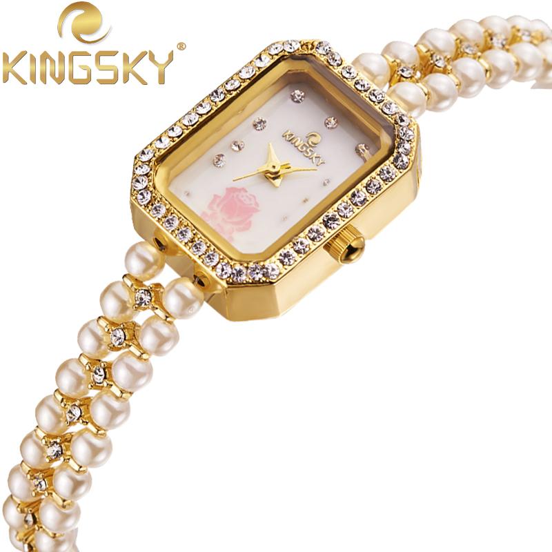 Simple KINGSKY Watch New Design Beautiful Pearl Watchband Quartz-watch Wristwatch Quartz Watches HE1195<br><br>Aliexpress