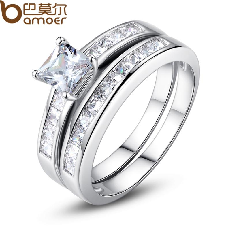 New Arrival Bamoer White Gold Plated Double Finger Ring with Paved Micro AAA Cubic Zircon Crystal For Women Jewelry SDTR029(China (Mainland))