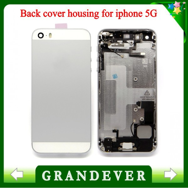 Phone Housings for iphone 5G iphone Back Cover Battery Housing case skin Faceplate Replacement Original copy cover silver(China (Mainland))