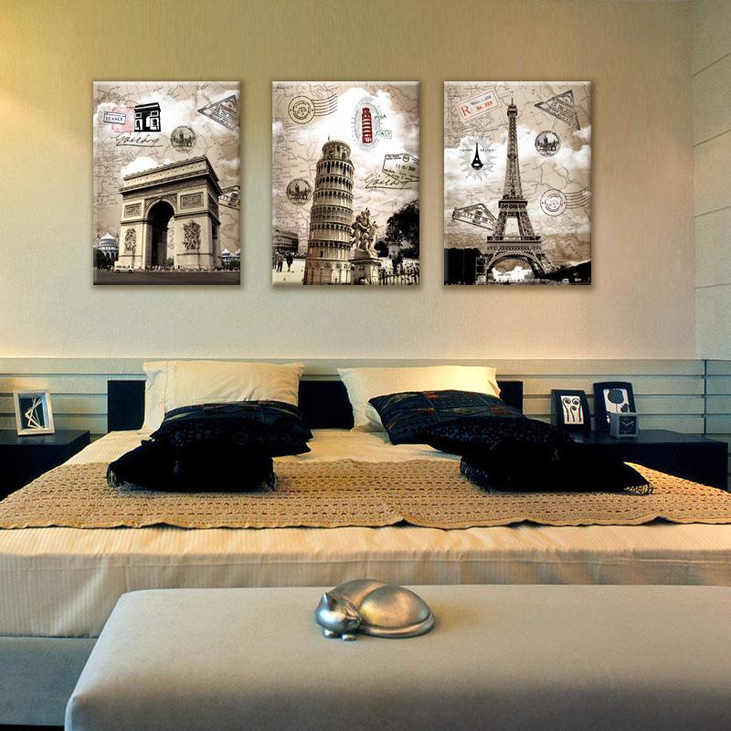 3 Panel Wall Art Paintings Famous European Building Paris Italy ...