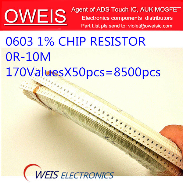 ! 0R-10M 0603 1% CHIP Fixed SMD resistor ,thin film,170valuesX50pcs=8500pcs, RESISTORS Assorted Kit, Sample bag - Oweis Electronics (HK store)
