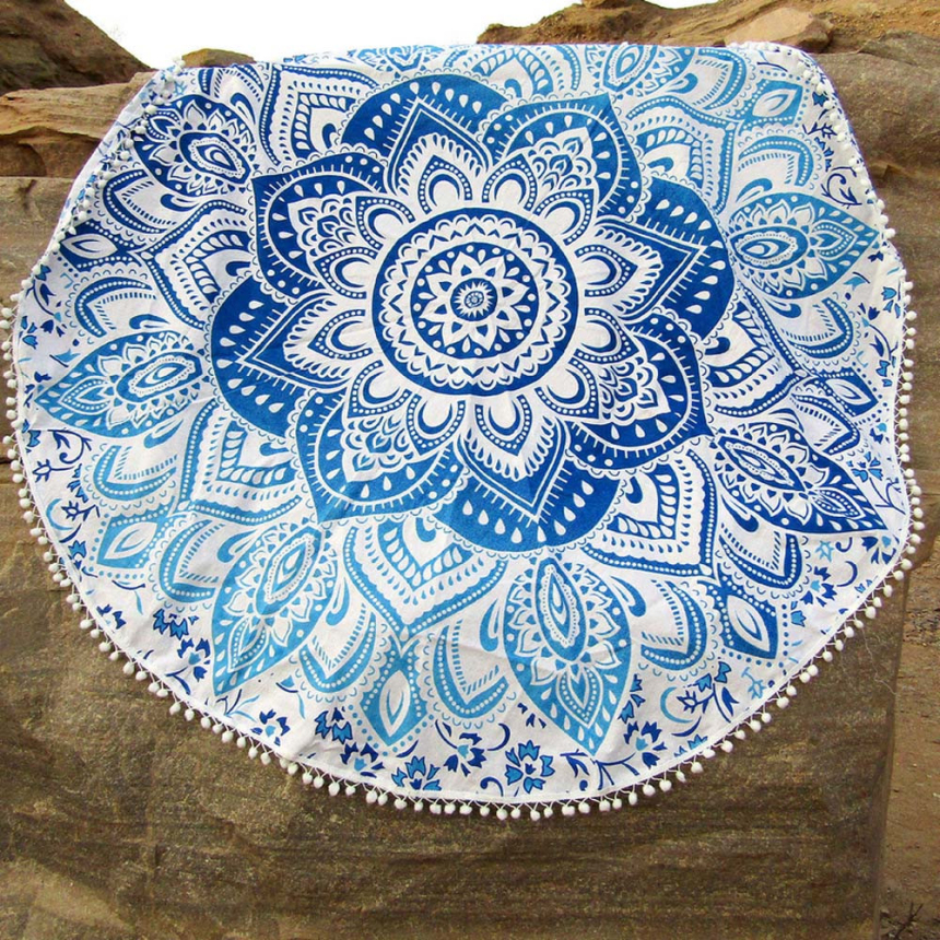 Premium Blue Round 150*150cm Gifts Beach Towel Mat Yoga Blankets Table Cloth Yoga Mat Bikini Summer Dress Swimwear Bathing Suit(China (Mainland))