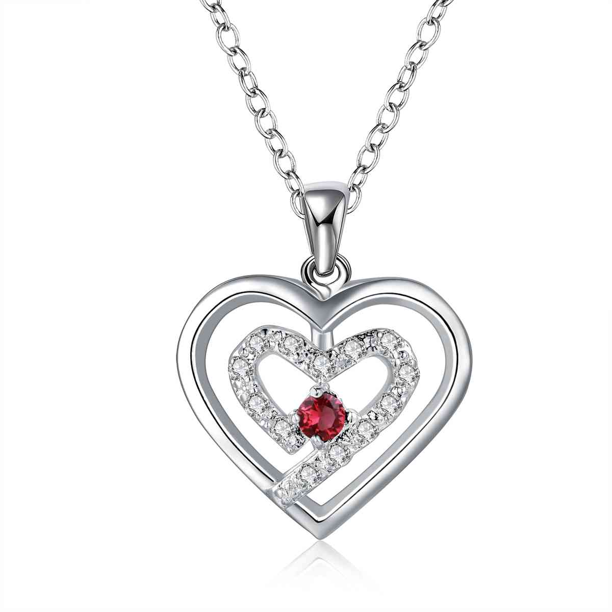 Free Shipping Newest 925 silver pendant necklace two heeart stone red collares populares bijouterie(China (Mainland))