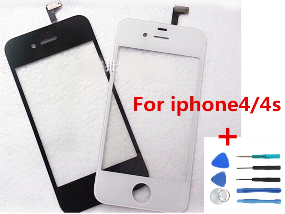 White/black Front Glass Lens + Touch Screen Digitizer For iPhone 4 4S 4G Replacement for Lcd Screen Case+Opening Tools Gua Work