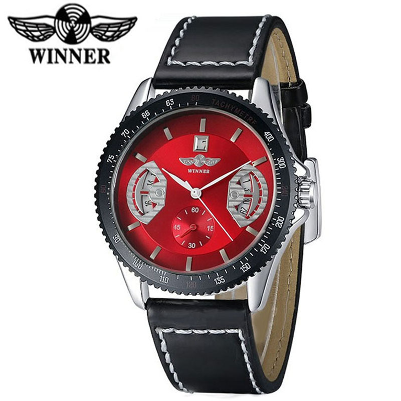 Winner Men's Watch Top Brand Luxury Skeleton Automatic Mechanical Leather Watches Men Sport Montre Homme Relogio Masculino - A&I store