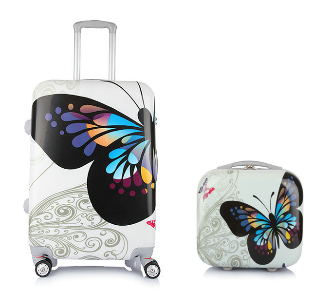 Fashion Suitcase  Butterfly Trolley Travel Luggage Bag Universal Wheels ABS+PC Girls Hard Shell Luggage Sets 20