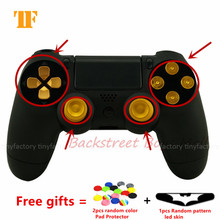 New Custom Gold Aluminum Dpad + Metal Tumb stick + Face buttons Mod kit For Sony PS4 Video Game Wireless Controller with gift
