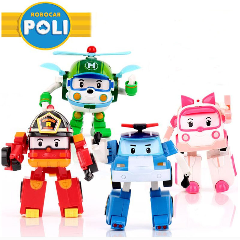 4pcs/Set Robocar Poli Toy Korea Robot Car Transformation Toys Poli Robocar Toys Without Box Best Gifts For Kids(China (Mainland))
