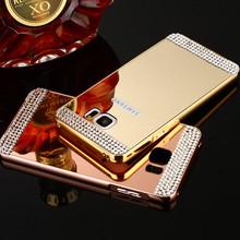 Samsung Galaxy A3 A5 A7 J3 J5 J7 2016 S6 S7 Edge Metal Aluminum Bumper Bling Diamond Mirror Back Cover 2 1 - S&J SHOP store