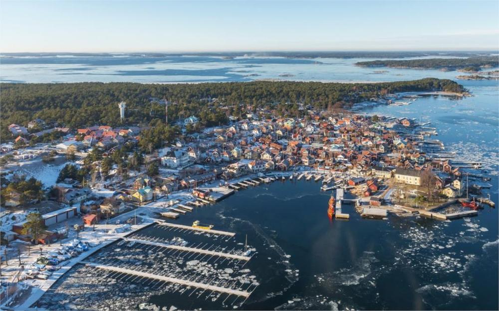 Building Sweden Coast Sandhamn From above Horizon Cities 4 Sizes Home Decoration Canvas Poster Print(China (Mainland))