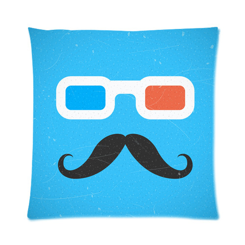 Vogue Designed Hipster Mustache And 3d Cinema Glasses Zippered Throw Pillow Cover 16 x 16 (one side)