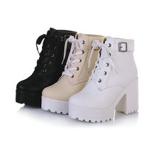 New 2015 winter Lace-Up Fashion platform boots for women Ankle boots punk Martin boots(China (Mainland))