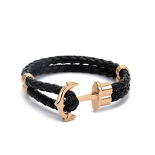 High Quality Fashion Jewelry PU Leather Bracelet Men Anchor Bracelets for Women Gift Summer Style pulseira