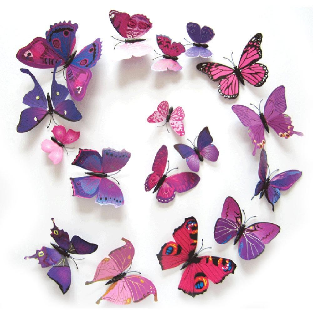 EA14 12PCS 3D PVC Magnet Butterflies DIY Wall Sticker Home Decor Free Shipping(China (Mainland))