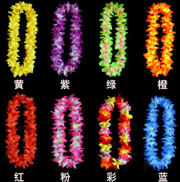 Newest wedding Party cheerleader decoration hawaiian Flower necklace wreaths Grass skirts accessories necklace artifical flowers(China (Mainland))