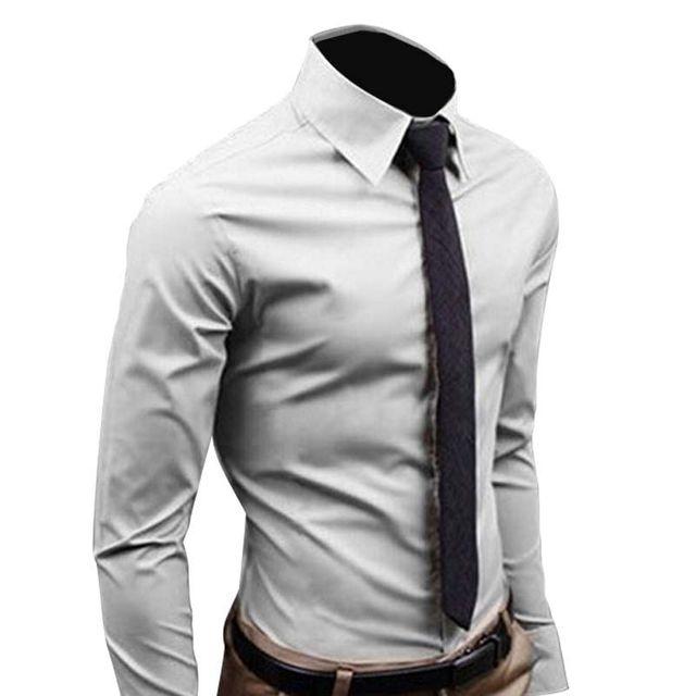 Men Shirt Long Sleeve 2016 Fashion Men's Sim Fit  Dress Shirts Cotton Solid Color Business Camisas Masculina RD464