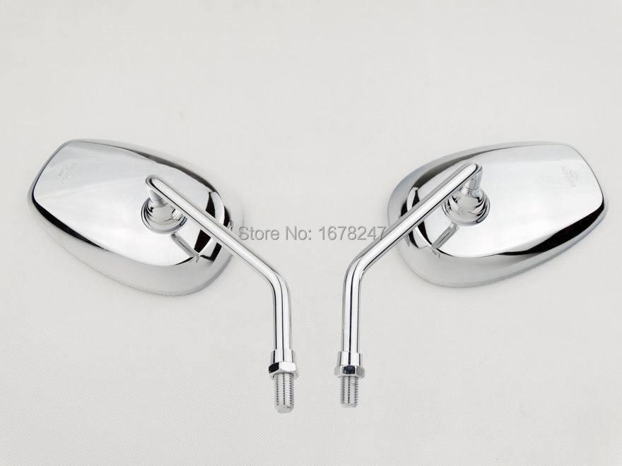 Pair Big Chrome Rearview Side Mirror Motorcycle Cruiser Chopper Custom 10mm Bolt Fit for CB1000R Interstate 1300 Nighthawk 250(China (Mainland))