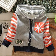 Boys printing jacket Children hooded sweater boys zipper spring jacket kids casual coat 1-5T free shipping(China (Mainland))