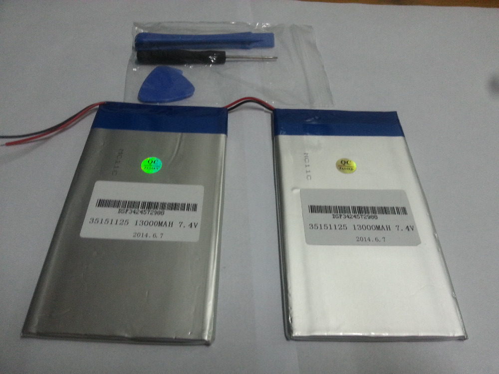 7.4V 13000mAh Tablets Batteries DIY Cube U30GT, U30GT1, U30GT2 dual four-core tablet pc battery 33161125 Size:3.5 * 151 * 125 mm(China (Mainland))