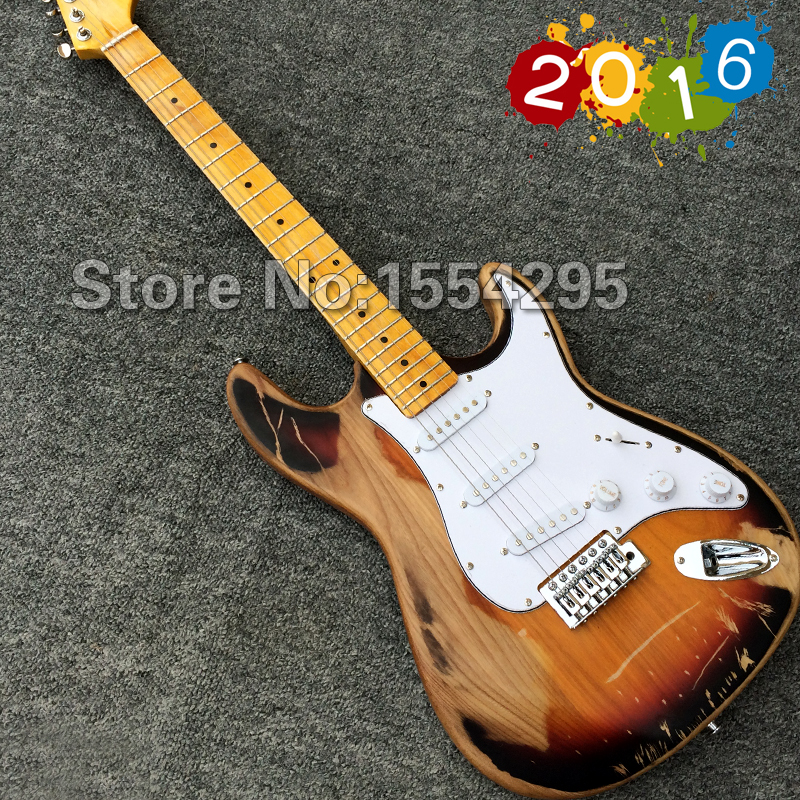 NEW ARRIVAL Costum shop Relic ST Electric Guitar, Relic guitarra, Elm body, Vintage Tuners,OEM Accepted, High Quality, Wholesale(China (Mainland))