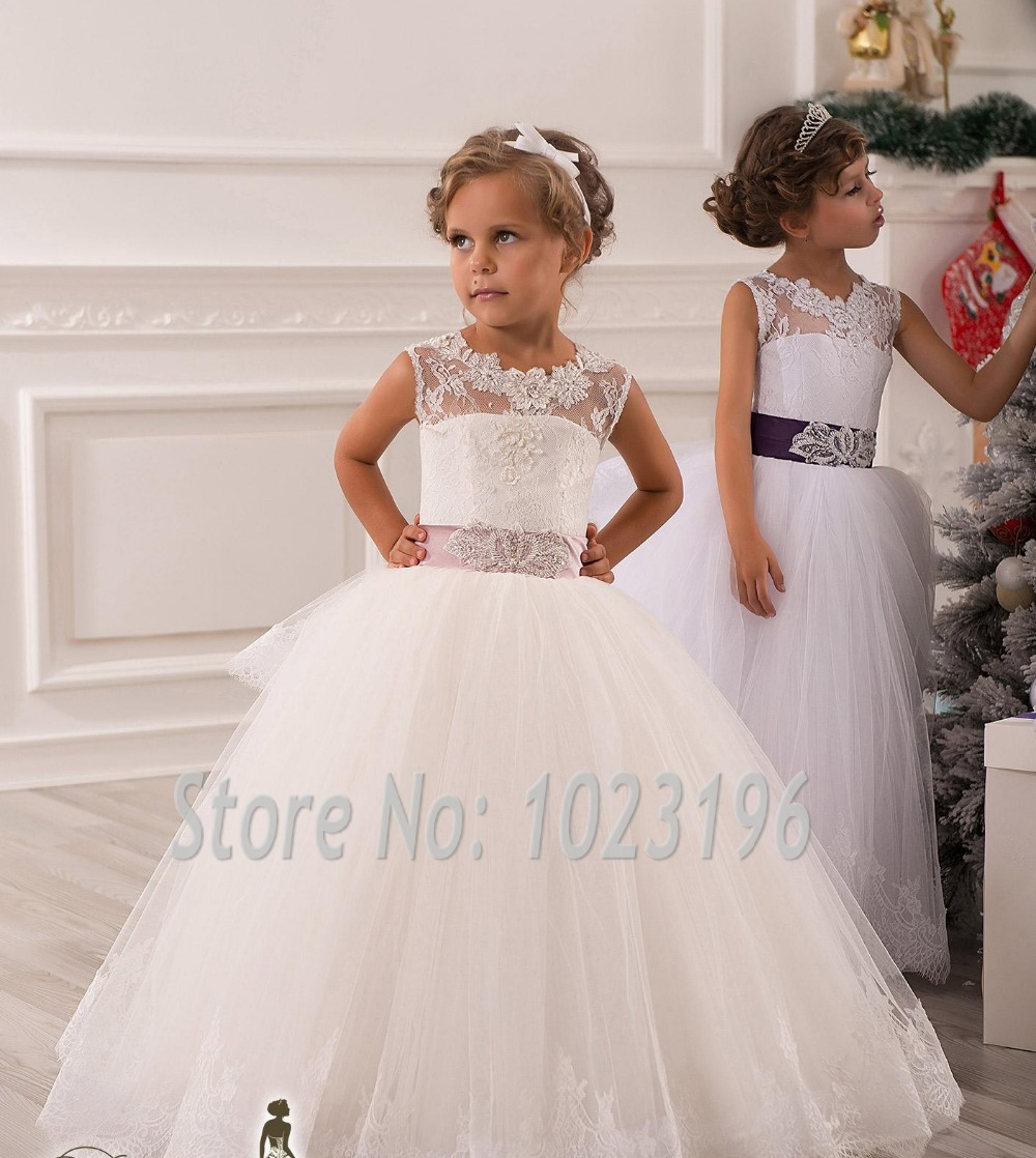 Flower Dress: Hot Real Image Ivory White Lace Flower Girls Dresses 2015
