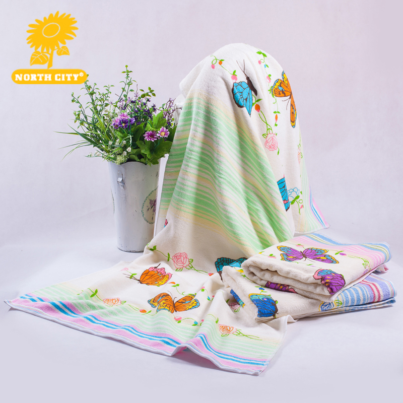 68*135 cm bathroom use lady girl quick dry cotton material rectangle shape butterfly pattern bath towels for adults #160413_m2(China (Mainland))