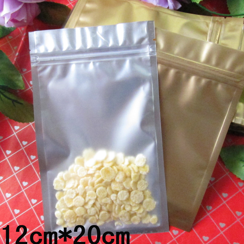 100pcs/lot 12cm*20cm*180mic Clear + Foil VMPET Gold Food Plastic Packaging Pouch(China (Mainland))