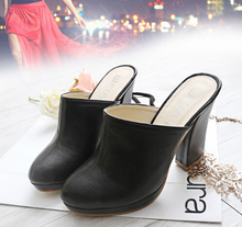 Freeshipping Lady Round Toe Lady Platform High Heel Slippers Fashion Woman Clogs Lady Casual Sandals Black Size 35-40 B026