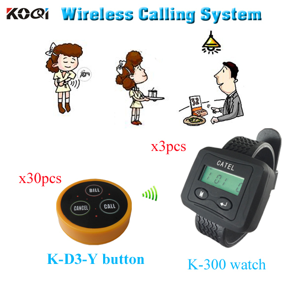 Wireless Waiter Call System with bell Transmitter and watch Receiver ( 3 watch pager +30 table bell button)(China (Mainland))