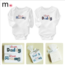 Baby Clothing Boys Girls Clothes O-neck Letter Love Mommy Love Daddy New Born Full-sleeve Casual Baby Body Suits Children Sets(China (Mainland))