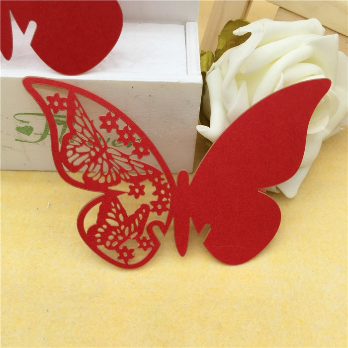 50pcs/Lot 11*7cm Laser Cut Butterfly Glass Cup Card Christmas Party Table Decoration Craft Supplies Wedding Decorations(China (Mainland))