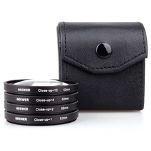 Neewer 4in1 4-Piece + Lens Bag 52mm Close-Up MACRO Lens Kit +1,+2,+4, +10 SLR Lens Filter Kit Set For Camera Free Shipping