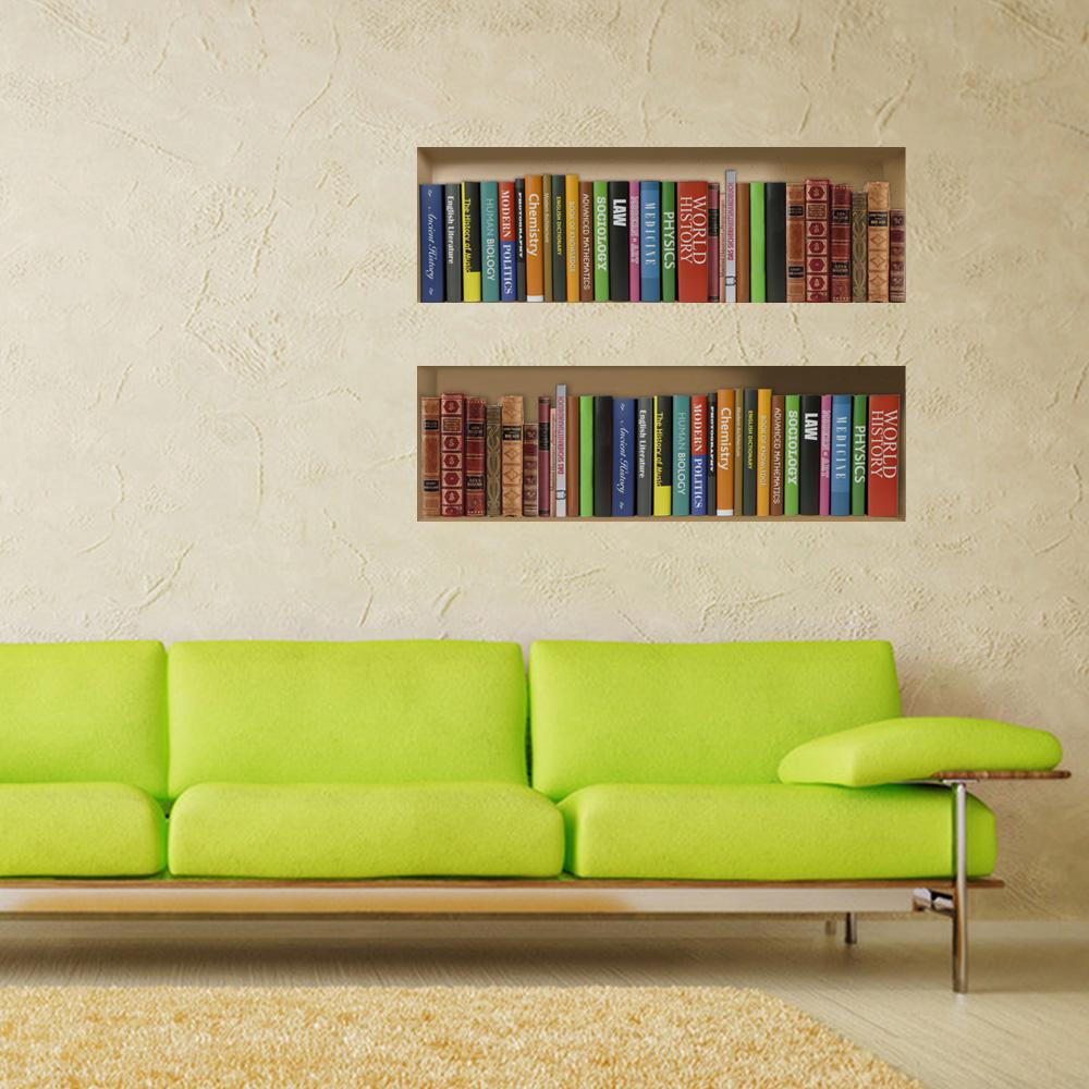 New Creative Removable Book Shelves Wall Stickers Home Deco 3D Wall Sticker Window Glass Sticker vinilo decorativo para pared(China (Mainland))