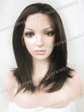 N1-2/6# Nature Black Color 14inch Silk Straight Synthetic Lace Front Wigs Heat Resistant Hair Wigs Natural Looking Wigs
