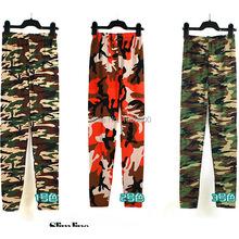 2014 wholesale  autumn Europe USA style  women  Camouflage   pencil capris  pants sewing leggings(China (Mainland))